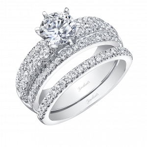 Round Pave Engagement Ring Three Rows of Diamonds