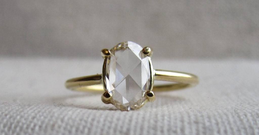rose cut diamond engagment ring