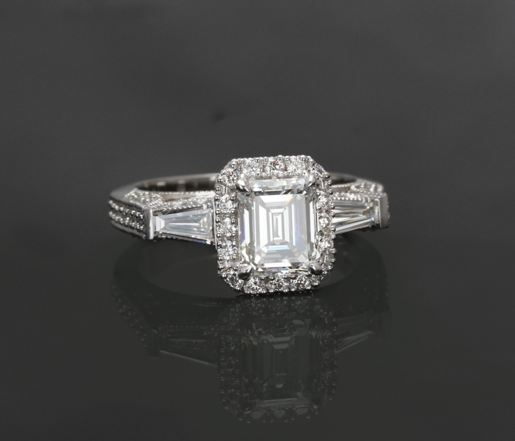 Emerald Cut Tapered Baguette Halo Engagement Ring