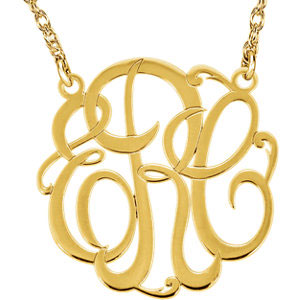Three Initial Monogram Necklace