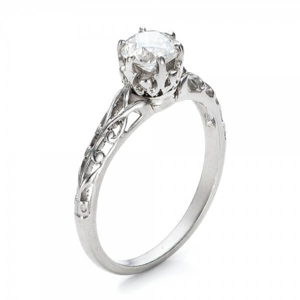 Platinum Ring Diamond - .63 ctw This ring includes the center diamond in the price. - 3Qtr View