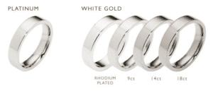 comparison of white gold ring versus platinum metal ring