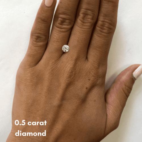 0.5 diamond carat on finger