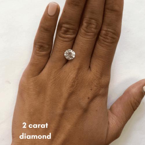 2 carat diamond size on finger