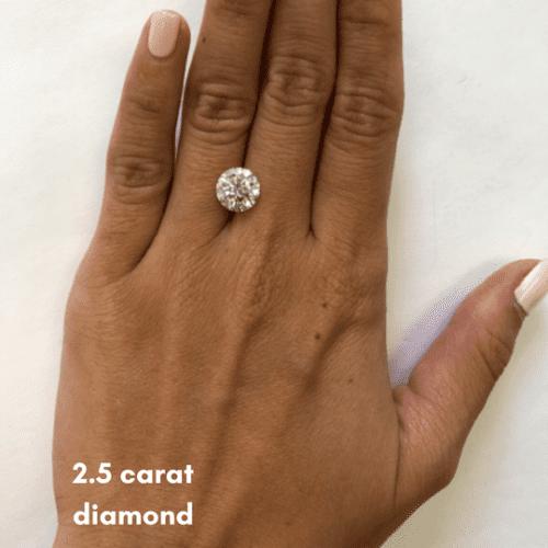 2.5 carat diamond on finger example