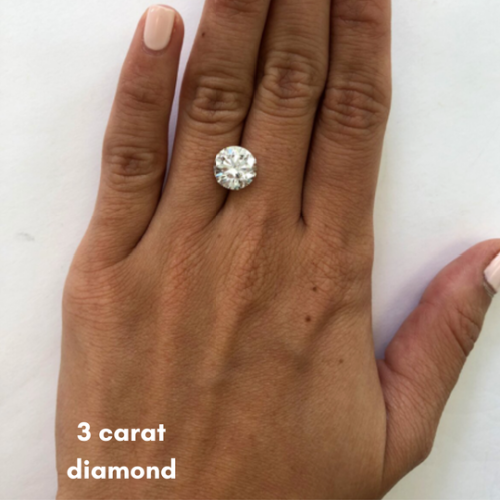 what does a 3 carat diamond look like on a finger