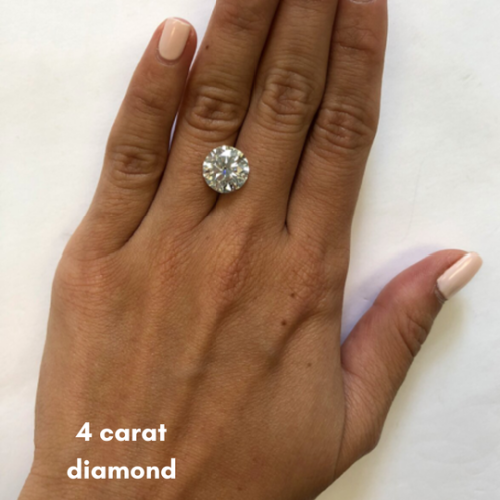 example of diamond carat size on hand