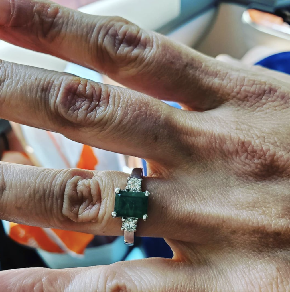 Alex Guarnaschelli's emerald engagement ring