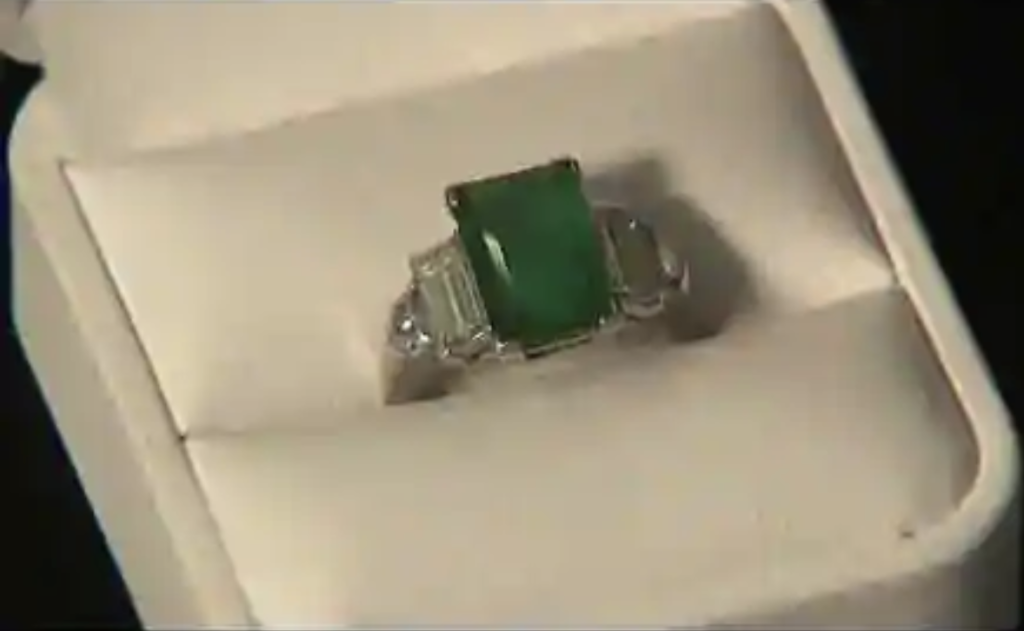 different angle of Howard Hughes' engagement ring for Hepburn