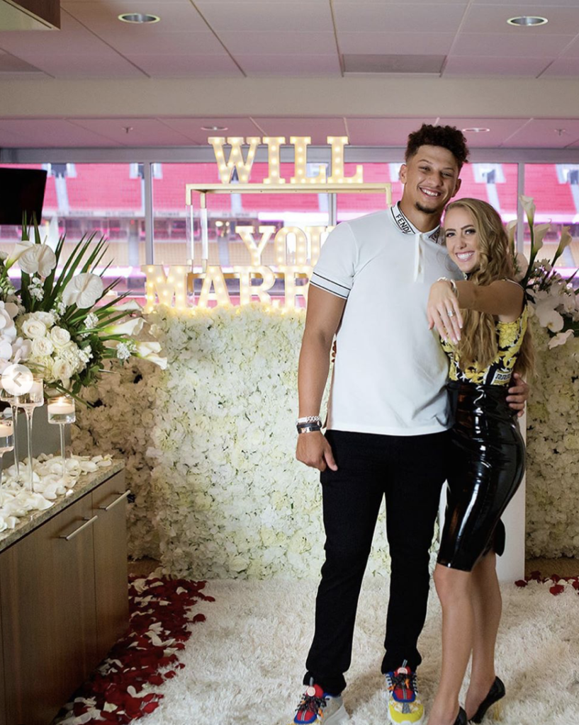 Patrick Mahomes popped the question in a decked out area of the Kansas City chiefs' stadium