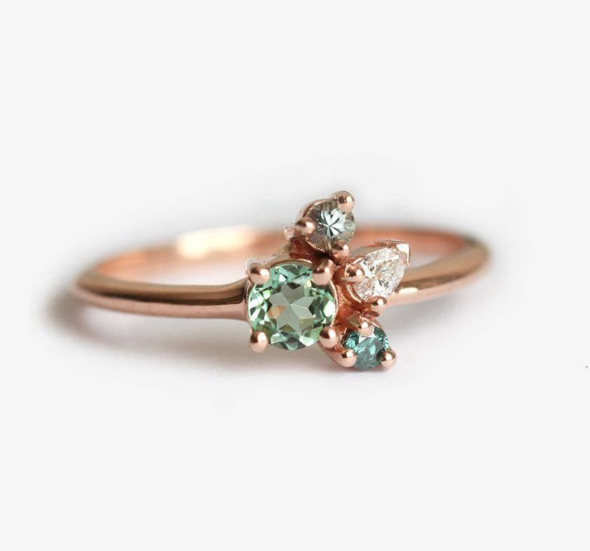 birthstone cluster ring