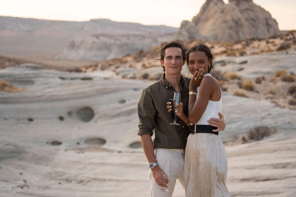 Jasmine Tookes and Juan David Borrero engagement photo