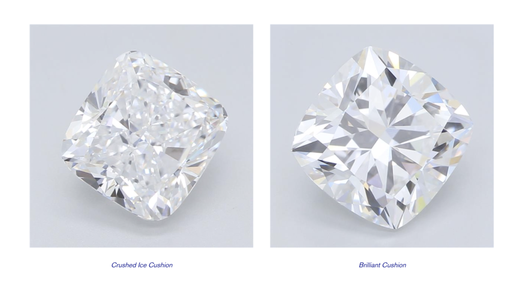 crushed ice diamond cut vs traditional cushion cut