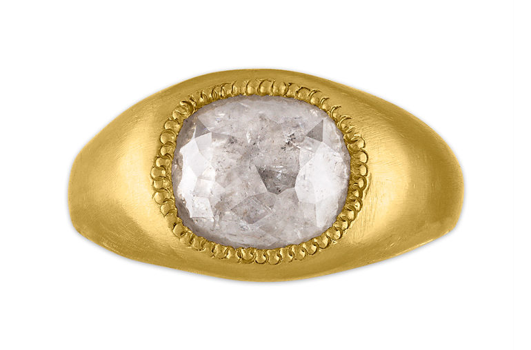 gypsy set engagement ring in yellow gold with old mine cut